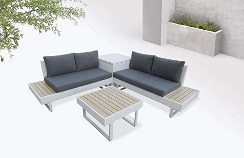 Bobochic Palma Salon De Jardin En Angle 5 Places Aluminium