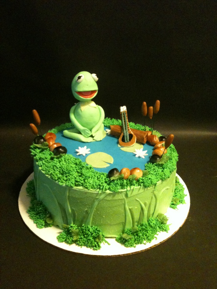 Kermit the Frog birthday cakeFrogs Birthday, Birthday Parties, 1St Birthday, 2Nd Birthday, Birthday Cakes Cupcakes, Froggy Birthday, Birthday Ideas