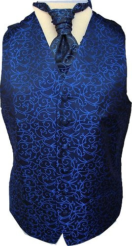 Mens Black/Royal Blue Swirl Wedding Waistcoat w/wo Cravat-Tie-Bowtie from 18.95 | eBay