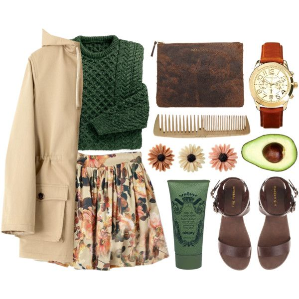 Love this whole look! The floral print on the skirt is so cute, and I especially love that it pairs with earth tones like tan and green. If the skirt were longer (maybe to just above the knees), I'd be all over this outfit.