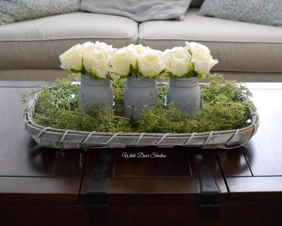 Rustic Tobacco Basket Farmhouse Style Centerpiece With Mason Jar Rose Arrangements And Greenery Kitchen Dining Coffee Table Centerpiece Coffee Table Centerpieces Tobacco Basket Tobacco Basket Decor