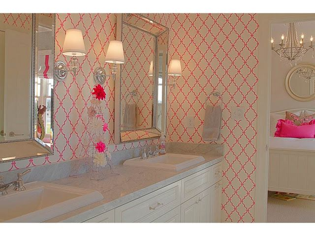 so cute. teen chic. not my plan for the guest/girl's bathroom, but i do love the vanity, the mirrors and the sconces.