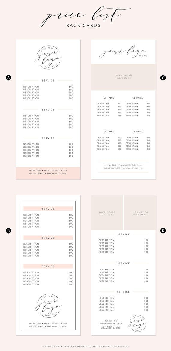 Price list template, rack card design, Makeup Artist or