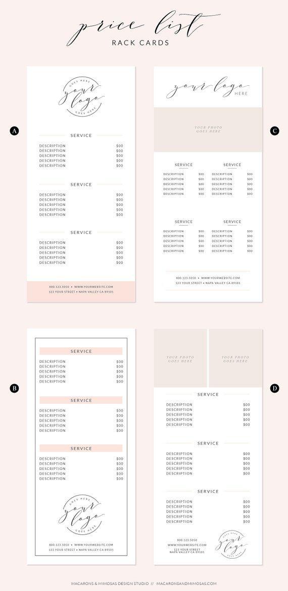 Price List Template Rack Card Design Makeup Artist Or Etsy Rack Cards Design Price List Template Salon Price List