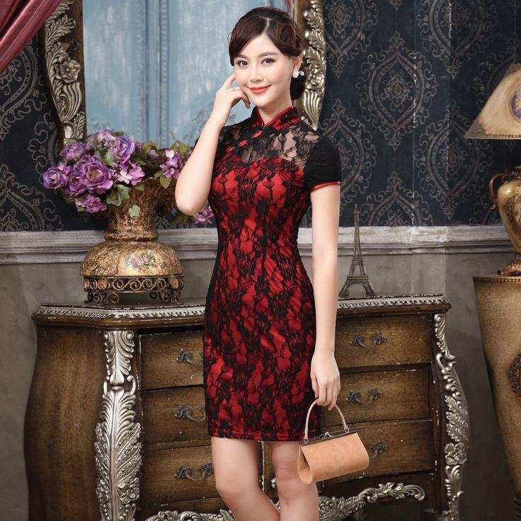 Impressive Modern Lace Short Cheongsam Dress - Red