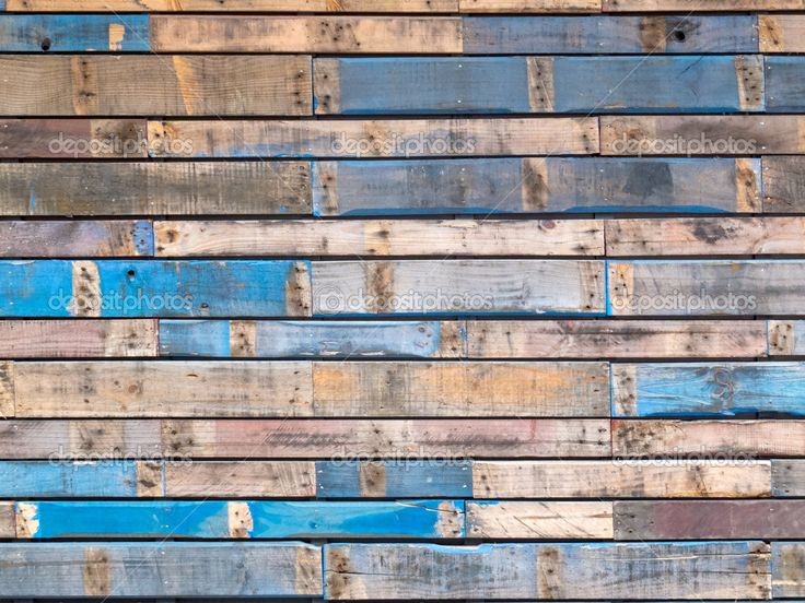 blue wood wall | Grungy blue painted wood planks of ...