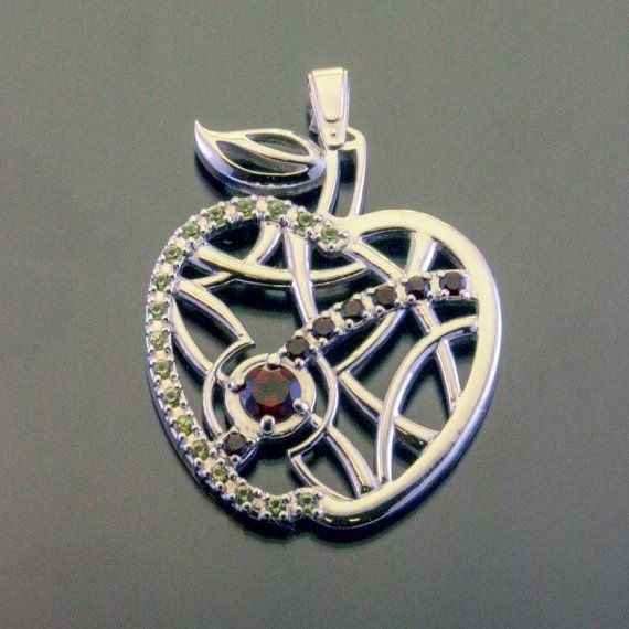 Silver Apple Necklace Jewelry Charm Pendant Garnet Peridot Gemstones