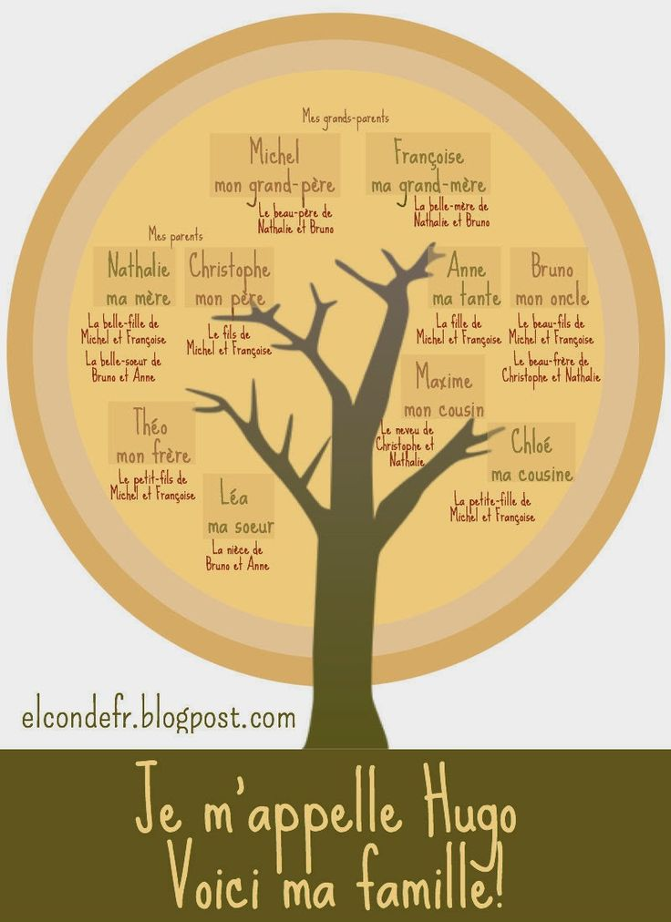 Hugo et sa famille - family tree in French - vocabulary for family members - en français