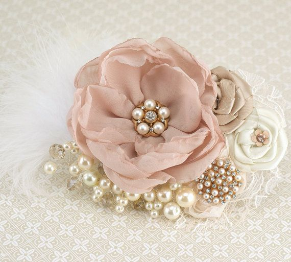 Bridal Hair Fascinator Clip in Blush Pink, Gold, Champagne and Ivory with Feathers, Lace, Pearls and Jewels