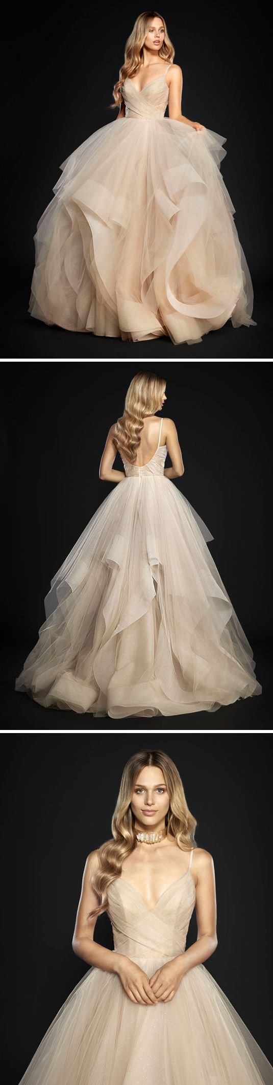 "Hayley Paige ""Chandon"" ball gown in champagne // Wedding dress inspiration {Facebook and Instagram: The Wedding Scoop}"
