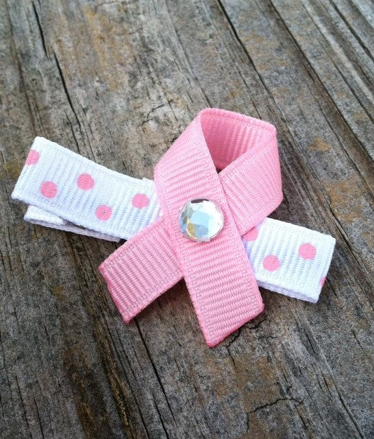 Pink Breast Cancer Awareness Ribbon Hair Clip for Susan G. Comen... Free Shipping Promo. $1.50, via Etsy.