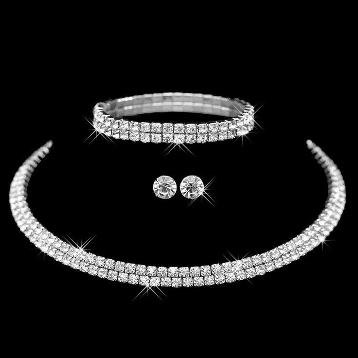Rhinestone Crystal Choker Necklace Earrings and Bracelet Set( Delivery  15-25 Days)