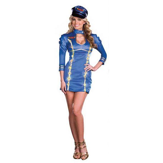Sexy stewardess kostuum met licht. Blauw stewardessen jurkje met LED lampjes in de gouden afwerking. De set bestaat uit het jurkje inclusief batterijen en een bijpassende pet. Carnavalskleding 2015 #carnaval