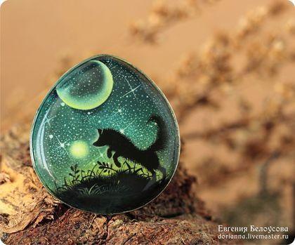 Кольцо, роспись, Лисенок и светлячки. Handmade. Лис, ночь