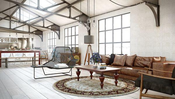 Industrial Chic Living Room Design Ideas   InteriorHolic.com