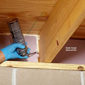 Seal Foam With Foam - Basement or crawl space rim joists are a major source of energy loss in a house, so it's well worth the effort to add insulation and seal any cracks and gaps. A good DIY approach is to cut rigid foam insulation to fit between the joists. Cut it about 1/2 in. undersized so it's easy to fit in. Shim the rigid foam in place with little chunks of foam. Then fill the space around it with expanding foam. Don't forget to caulk or foam the joint between the sill plate and the…