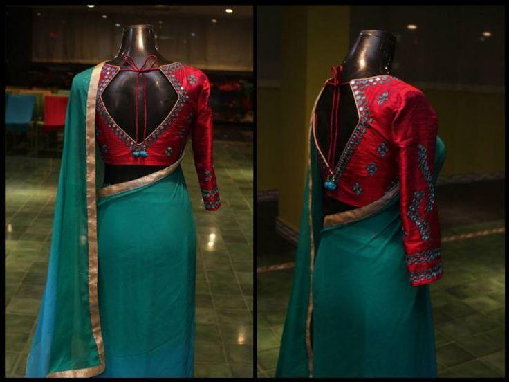 Mirror-worked-raw-silk-blouse-with-chiffon-shaded-sari1.jpg (740×555)
