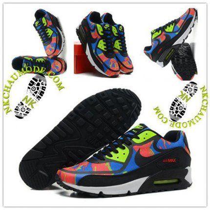 newest 0d05b 69a6f ... Tendance   Nike Chaussure Sport Air Max 90 2014 Femme Noir Vert Rose   Nike Wmns Air Pegasus ...