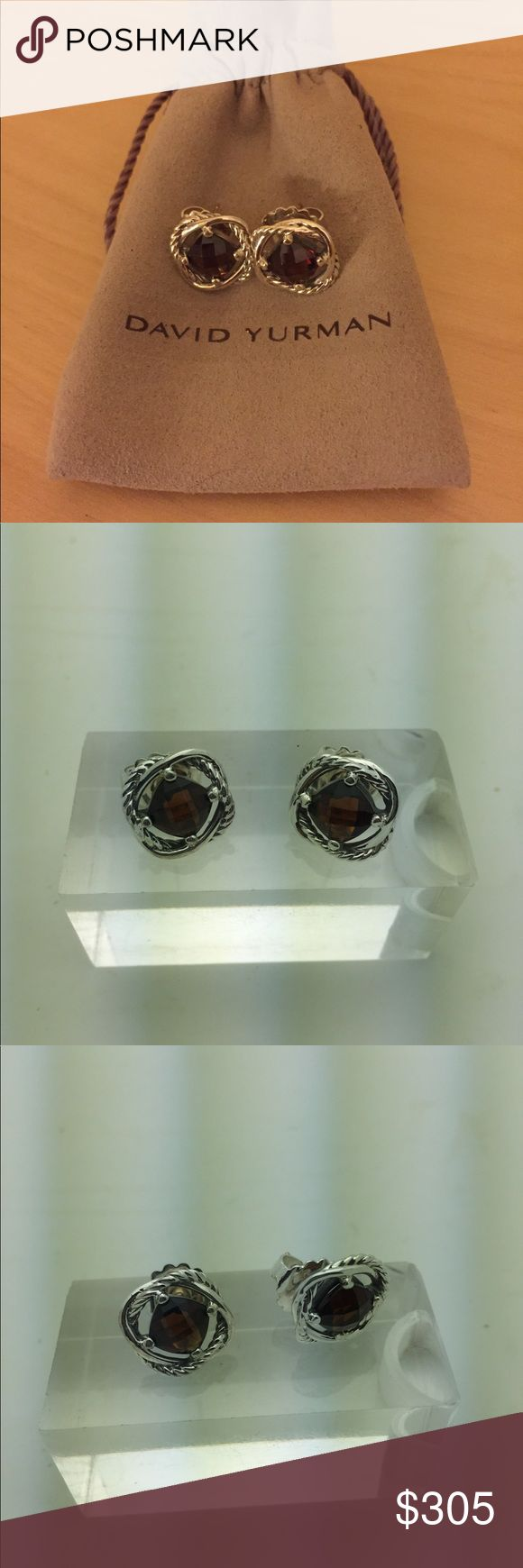 David Yurman Infinity Earrings Res Garnet 925 David Yurman Authentic Infinity Red Garnet Earrings in Sterling Silver. Condition like New.  Comes with Original DY pouch. David Yurman Jewelry Earrings