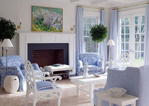 love the carpet and the navy fireplace: Living Rooms Chairs, Blue Rooms, East Hampton, White Living, By Braff, Color, Fireplaces, French Blue, Blue And White