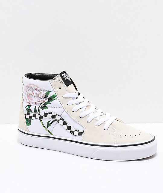 eb0c9ae180 Vans Sk8-Hi Checker Floral Turtle Dove   White Skate Shoes in 2019 ...