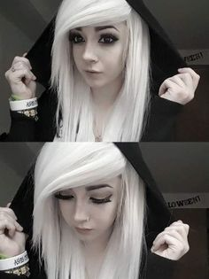 Emo Hairstyles - White Emo Hair With Side Swept Bangs