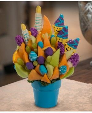Let's Party, Rockin it out Blossom scent free fruit bouquet are great for all occasions and make great gifts ideas or decorations from a proud Canadian Company. Great alternative to traditional flowers or fruit baskets