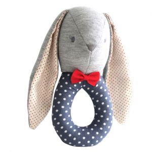 Alimrose – Louie Bunny Grab Rattle A handsome bunny grab rattle in gorgeous French Blue spot fabric.  16cm