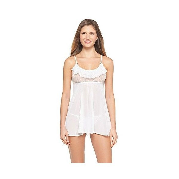 Women's Bridal Babydoll Lingerie Snowball White ($22) ❤ liked on Polyvore featuring intimates, apparel, babydoll lingerie, lingerie, snowball white, undergarments, white babydoll lingerie, gilligan & o'malley, white lingerie et sexy lingerie