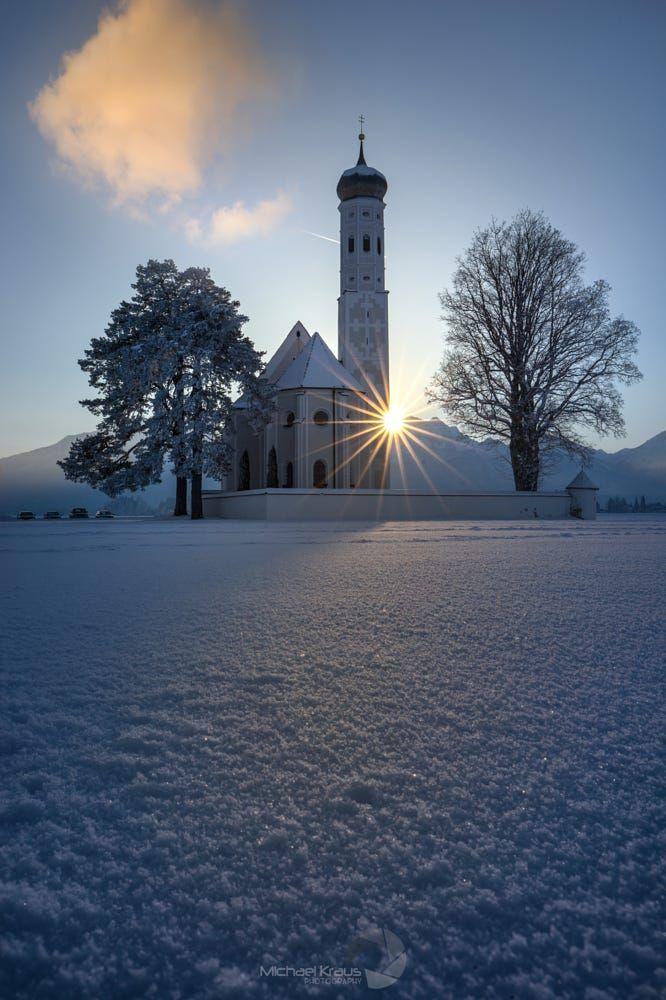 Last Light by Michael Kraus...... #trees #sky #landscape #sunset #mountains #winter #cold #nature #church #sunlight #clouds #view #snow #evening #germany #sundown #heaven #bavaria #sunrays #goldenhour #lastlight #sunstar #StColoman