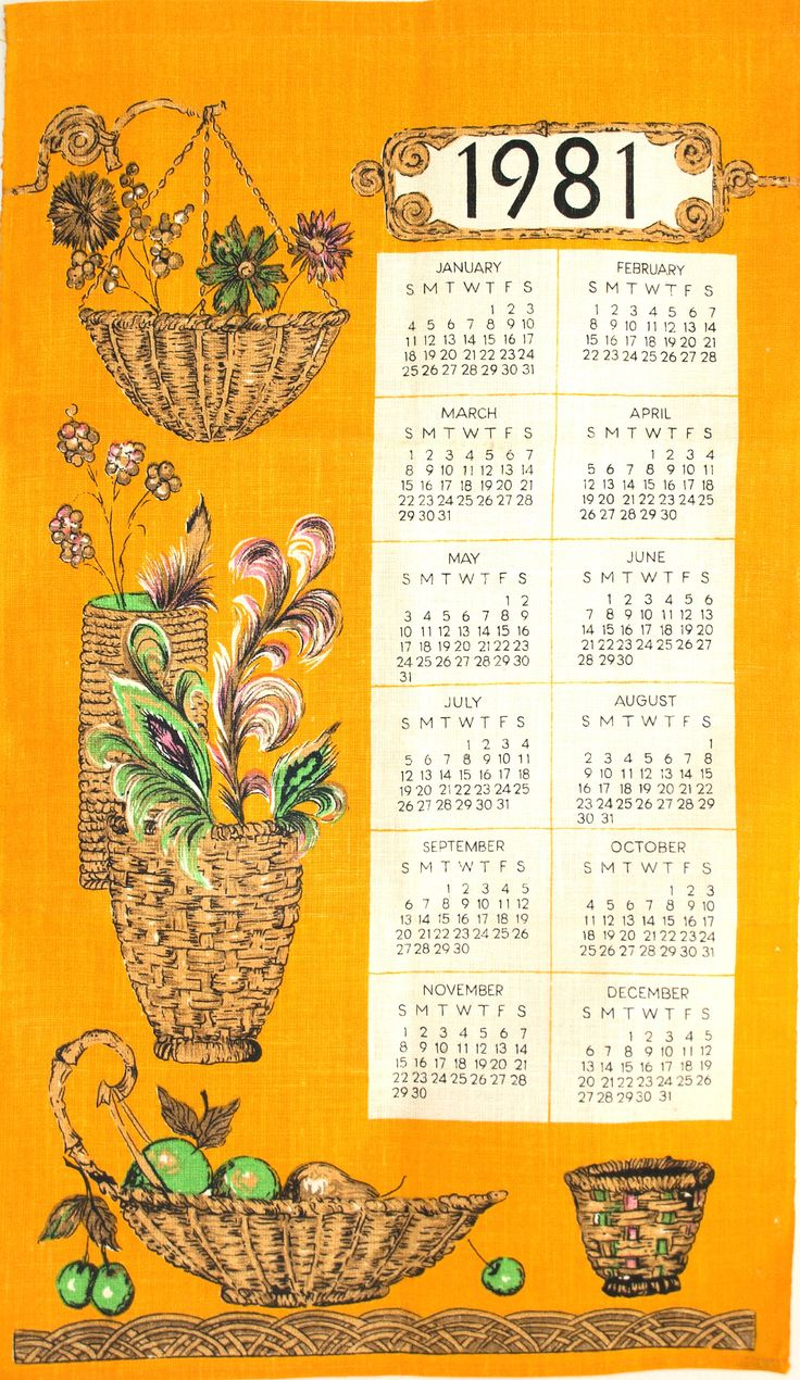 Polish Linen 1981 Calendar Birthday Tea Towel - Vintage Retro Orange Hanging Baskets Made in Poland - New Old Stock Mint! by FunkyKoala on Etsy