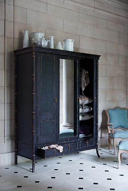 "Honoka Armoire - anthropologie.com; 84""H, 67""W, 25.5""D Drawers: 35 ""H, 18""-41""W, 18""D;6"" under armoire clearance $3998.00"