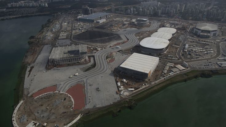 In this July 2015 photo, the Olympic Park for the 2016 Olympics is under construction in Rio de Janeiro. The Olympics offers 28 sports, 300 events, 10,500 athletes and, with the exception of five football venues, are all packed into Rio for 17 days. The Paralympics add two more weeks, and thousands more athletes.