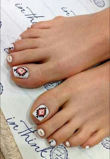 Aztec toenail art