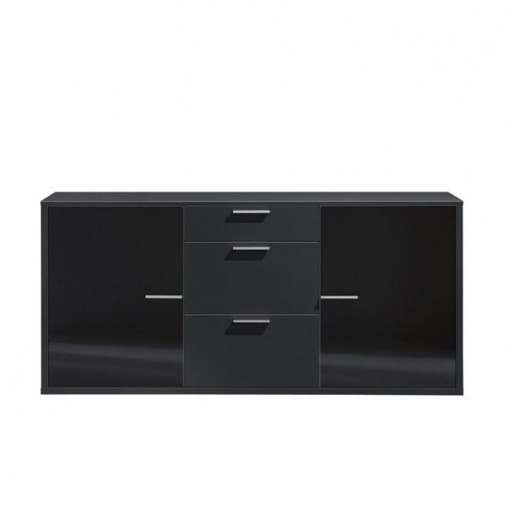 Dressoir Game - 181x86x42cm zwart glas