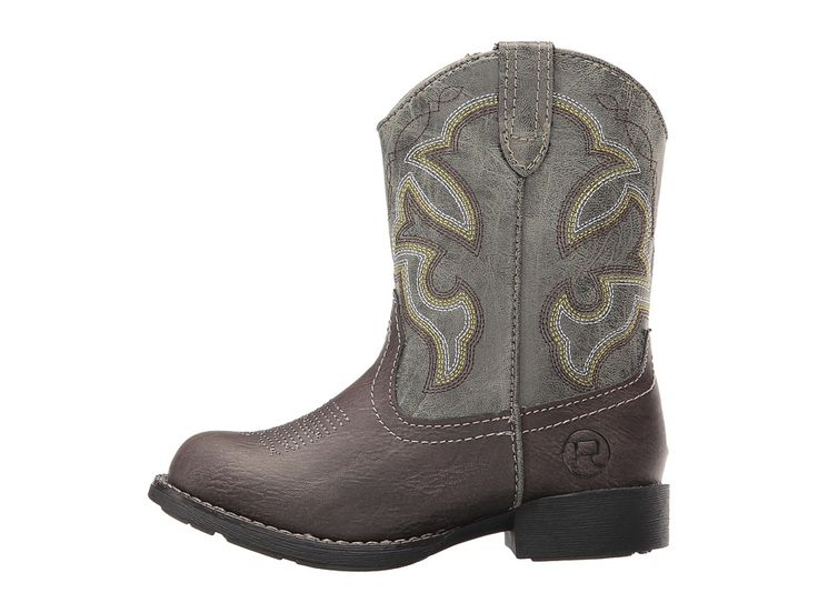 Roper Kids Cody (Toddler) Cowboy Boots Brown Faux Leather/Vamp Green Shaft