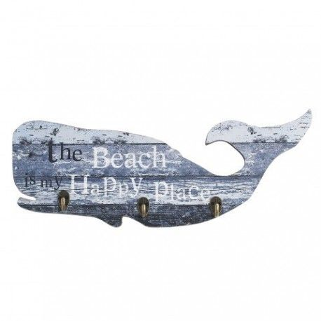 Percha con forma de ballena muy original con tres ganchos, para decorar tu casa o un bar. Aportarás a la decoración un toque marino, original y simpático.