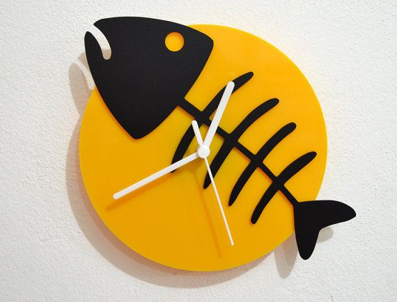 Fish Bone  - Black & Yellow Silhouette - Wall Clock