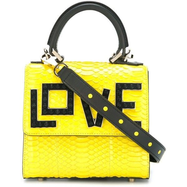 Les Petits Joueurs 'Love' tote ($1,165) ❤ liked on Polyvore featuring bags, handbags, tote bags, totes, handbags totes, snakeskin tote, tote bag purse, tote hand bags and yellow tote bag