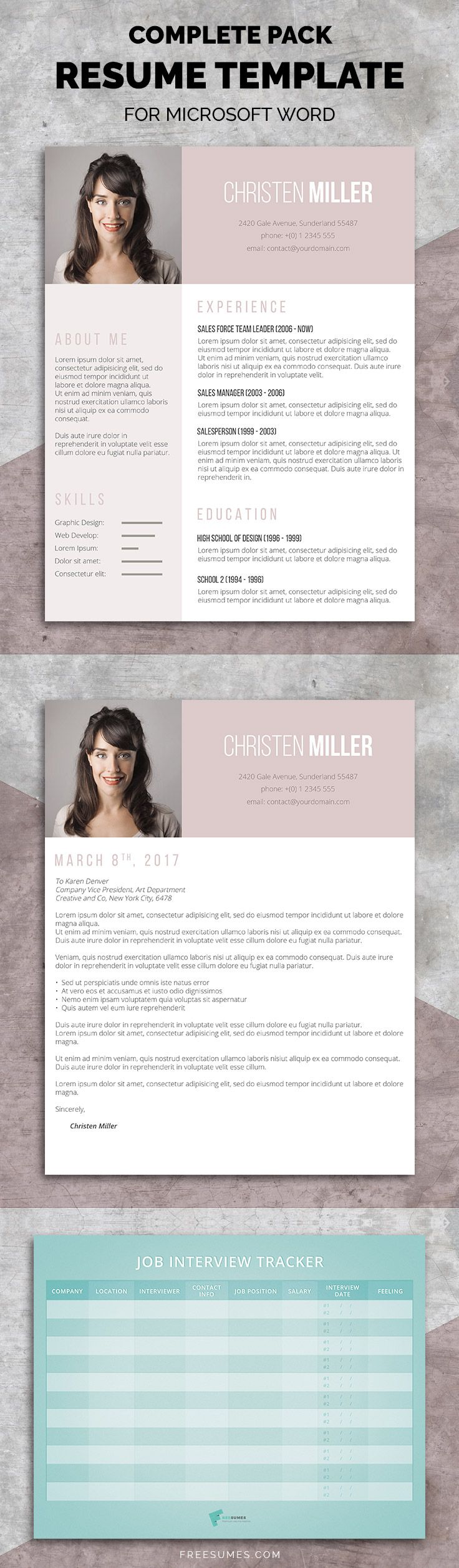 It's time for a makeover. You can now revamp your entire application with this brilliant feminine resume pack.  #resume #template #pack