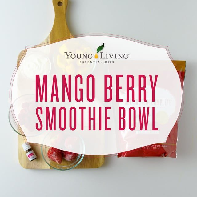 Tasty smoothie bowl filled with fresh fruit and tropical flavors. Mango berry base is perfect foundation for toppings like strawberries, nuts and seeds, bananas, or Young Living goodies. Psh..who needs Jamba Juice? Make your own with this recipe.