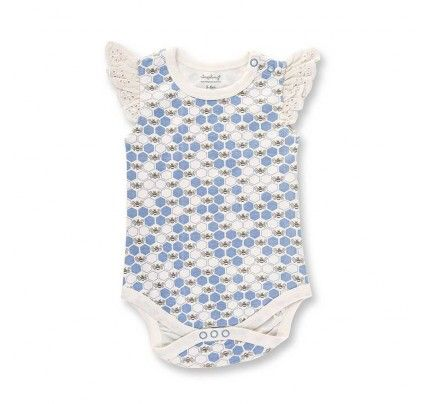 Cornflower Blue Bees Lace Bodysuit from Sapling Child's L'Abeille (Honey Bee) collection
