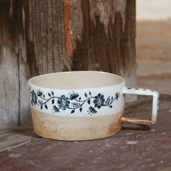white mug mug with flowers blue flowers the beautiful von ZERAMIC