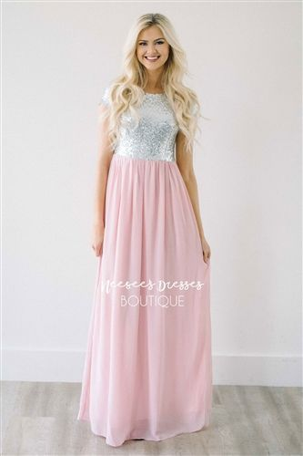 The Elsa in Petal Pink with Sparkly Silver Sequins. Modest bridesmaids and modest prom dresses.