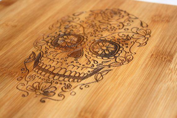 Sugar Skull Cutting Board  Day of the Dead by OurCuttingBoard