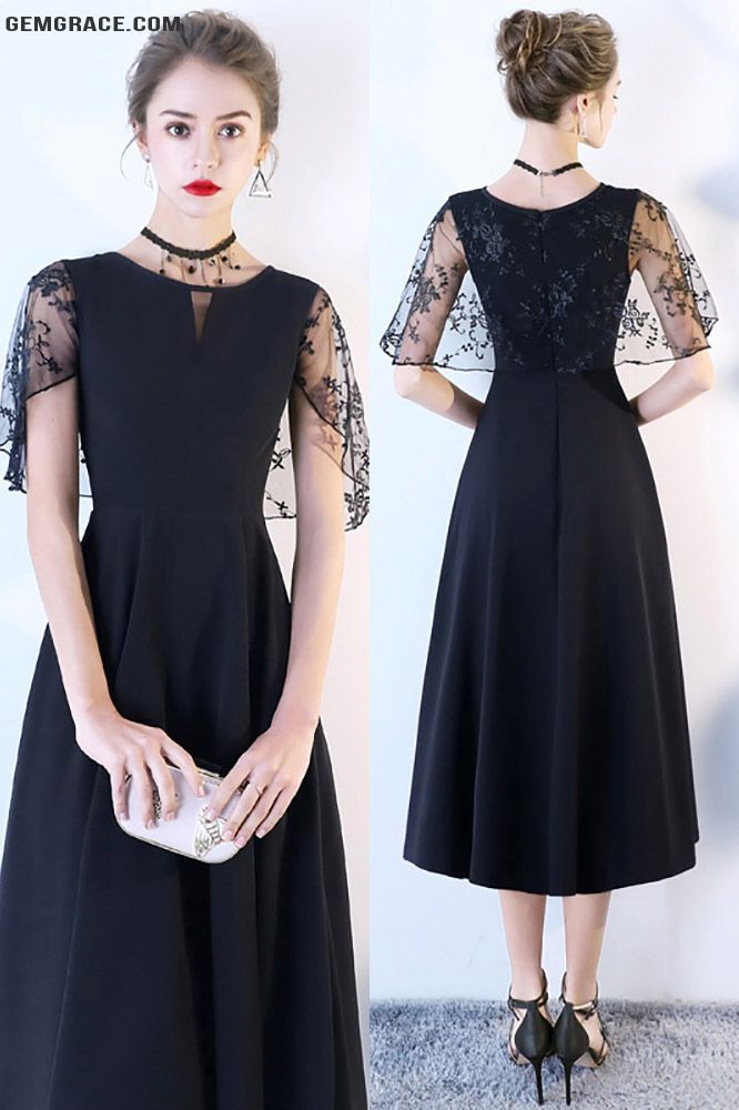 Chic Black Tea Length Party Dress with Cap Sleeves # ...