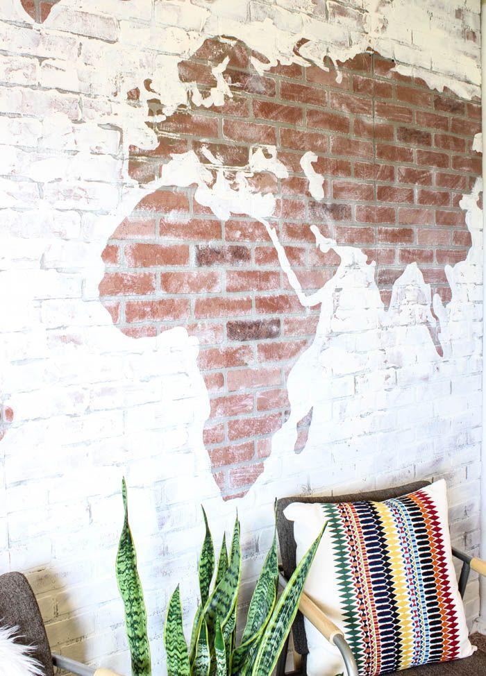 DIY Faux Brick Wall Map-21