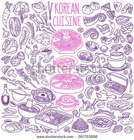 Set Of Doodles, Hand Drawn Rough Simple Korean Cuisine Food Sketches. Different Kinds Of Main Dishes, Desserts, Beverages. Vector Set Isolated On White Background For Cafe Menu, Fliers, Chalkboards - 261703898 : Shutterstock