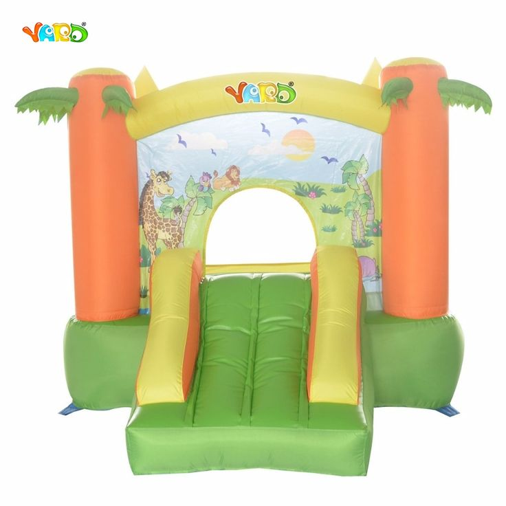YARD Asian Pacific Free Shipping Indoor Inflatable Trampoline with Slide Cute Cartoon Zoo Pattern for Kids