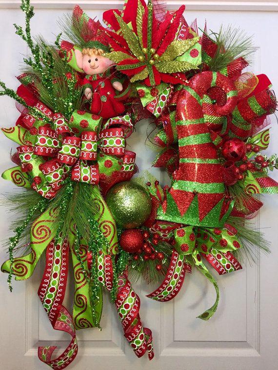 and gold wreath deco mesh Christmas wreath red green mesh wreath Green Christmas wreath front door Christmas poinsettia wreath green